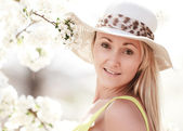 Happy woman with hat — Stock Photo