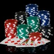 Poker chips with cards — Stock Photo #8376525