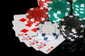 Poker chips with cards — Stock Photo