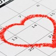 Stock Photo: Heart on calendar