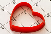 Heart on calendar — Stock Photo