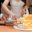 Stock Photo: Groom and bride divide pie