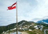 Austrian Flag above Alps mountain — Stock Photo