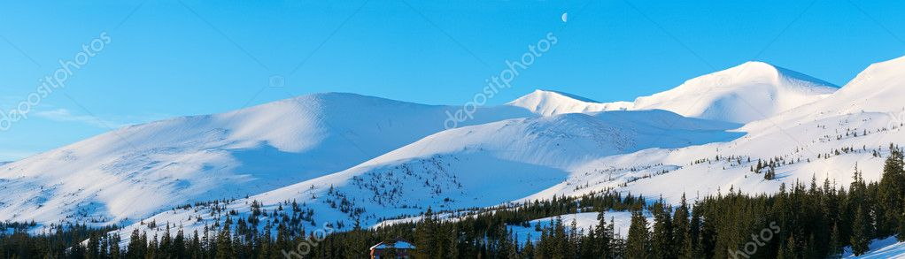 Morning mountain panorama with long blue daybreak shadows and moon in sky (Drahobrat Ski Resort, Yasenja village, Zacarpatsjka Region, Carpathian Mt's, Ukraine)  Stock Photo #7995196