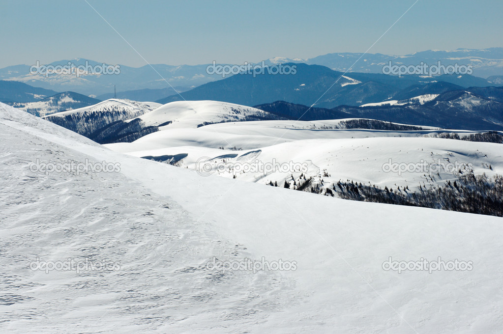 Winter mountain landscape (Ukraine, Carpathian Mt's, Svydovets Range)  Stock Photo #7995538
