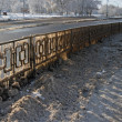 Stock Photo: Winter highway guardrail