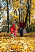 Familie im herbst-park — Stockfoto