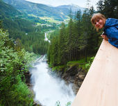 Alps waterfall summer view — Stock Photo