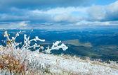 First winter snow on autumn mountain plateau — Stock Photo