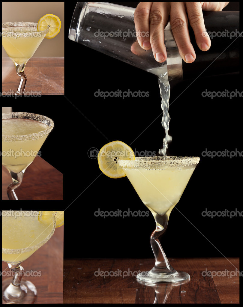 Hands pouring a lemon drop martini isolated on black with different views of garnishes on the side as small pictures — Stock Photo #10513478
