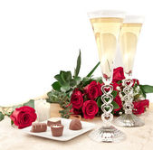 Chocolate, roses and champagne — Stock Photo
