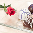 Organic hand crafted chocolate and rose — Stock Photo #8539348