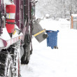 Automated Garbage Truck in snow — Stock Photo