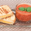 Grilled cheese and tomato soup — Stock Photo