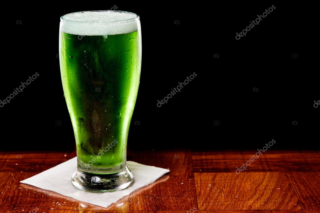 St patricks day green beer isolated on a black background  Stock Photo #9266449