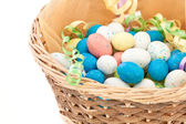 Easter basket isolated on white — Stock Photo