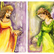 Two images of angels to the children's room. — Stock Photo
