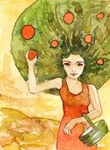 Watercolor of women - the tree — Stock Photo