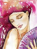 Illustration of a watercolor portrait of a beautiful woman. — Stock Photo