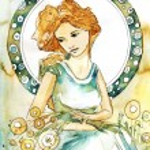 Romantic and pensive girl art novueau — Stock Photo