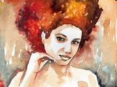 Watercolor illustration of a woman — Stock Photo