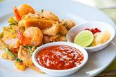 Fried seafood Sukiyaki in Thai style with sauce — Stock Photo