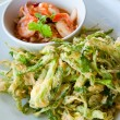 Deep fried morning glory with spicy shrimp salad — Stock fotografie