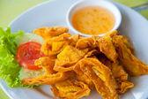 Deep Fried Wonton on white dish with plum sauce — Stock Photo