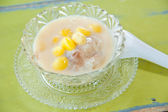Thai sweetmeat with colorful ball flour, coconut, milk and egg : popular an — Photo
