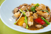 Stir-fried colorful vegetables, mushroom and herb — Stock Photo