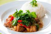 Kızarmış domuz eti ile lezzetli sıcak pirinç, sebze ve yeşil otlar — Stok fotoğraf