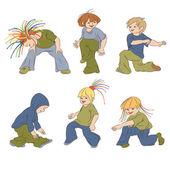 Los niños pequeños bailando hip-hop. — Vector de stock