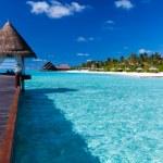 Overwater spa in lagoon around tropical island — Stock Photo