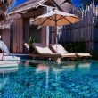 Stock Photo: Private pool and a bird in luxurious villa