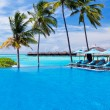 Infinity pool with umbrellas and palm trees over lagoon — Stock Photo #8286687