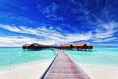 Overwater villas on the lagoon — Stock Photo