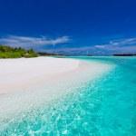 美しいラグーンと白いビーチでヤシの木 — ストック写真