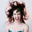Portrait of attractive woman messy hair — Stock Photo