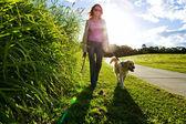 Mujer joven y golden retriever caminando — Foto de Stock
