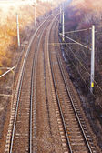 An electric railway image seen from above — Stock Photo