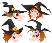 Witch Faces — Stock Vector