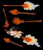Witches Broomsticks Vector — Stock Vector