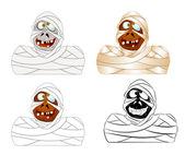 Set of Cartoon Mummy — Stock Vector