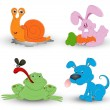 Cute Cartoon Animals Vector — Stock Vector