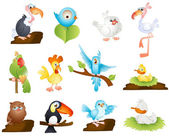 Cute Cartoon Birds — Stock Vector