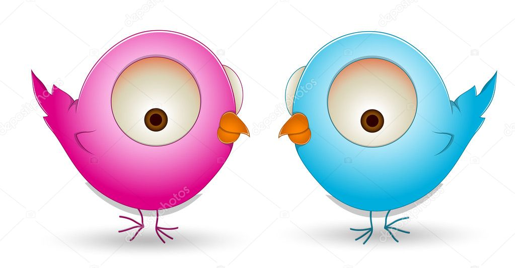 Lovely Design Art of Cute Cartoon Birds Couple Vector Illustration — Stock Vector #10254747