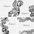 Set of Henna Tattoo Art — Stock Vector