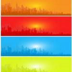 Set of Sunset City Landscape — Stock Vector