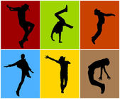 Silhouettes of Various Dance Poses — Stock Vector