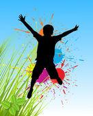 çocuk şekil atlama — Stok Vektör